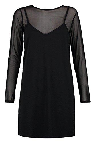Damen Schwarz Molly 2-in-1-slip-kleid Aus Netzstoff Schwarz