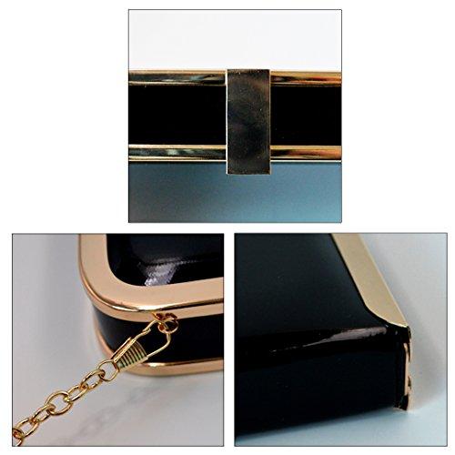 schwarz Zusatzkette Abendtasche Damenhandtaschen mit Handtasche Lackleder Umhängetasche AiSi modern Bag Clutch Damen Party BqwPxgS7