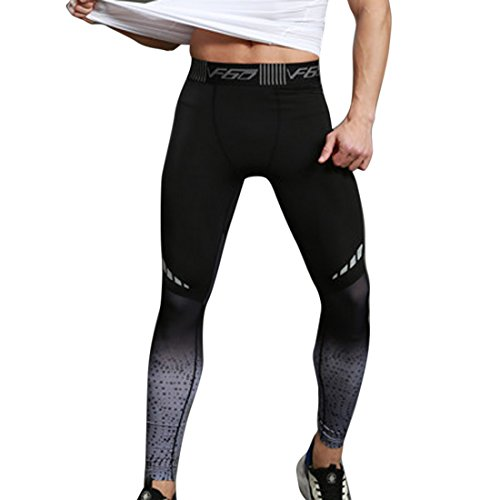 Vertvie Mens Compression Sports Pants Yoga Leggings Tights Running Clothes For Gym Workout (L, Black)