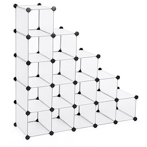 SONGMICS Estantería modular de plástico PP Zapatero Organizador 16 cubos Blanco semitraslúcido 113 x 36 x 113 cm LPC44S