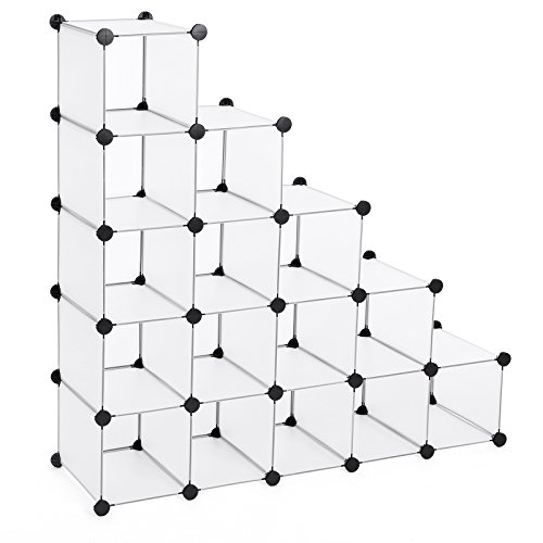 Songmics Schuhregal Regalsystem halbtransparent Weiß (Maße jedes Faches 22 x 22 x 35,5 cm) LPC44S