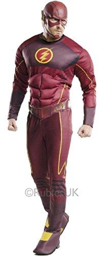 Erwachsene Herren offiziell lizenziert DC Comics Deluxe Muskel Brust Blitz Superheld Comic Book Hero Kostüm Kleid Outfit STD & XL - Rot - Rot, XL (Blitz Kostüm)