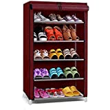 Ebee Store Shoe Rack with 5 Shelves (Maroon)