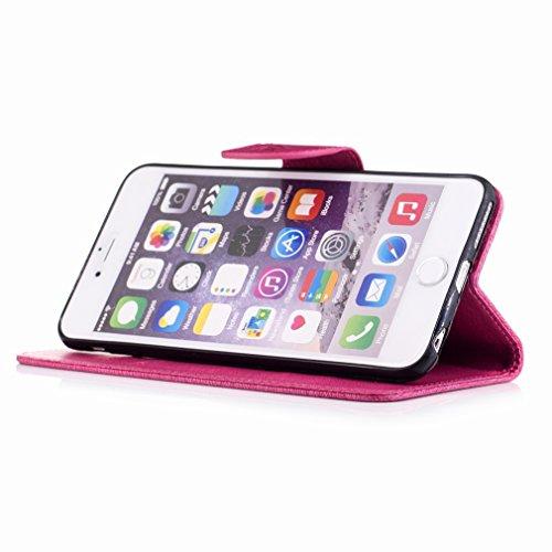 Yiizy Apple IPhone 6s Plus / IPhone 6 Plus Custodia Cover, Fiore Di Farfalla Design Sottile Flip Portafoglio PU Pelle Cuoio Copertura Shell Case Slot Schede Cavalletto Stile Libro Bumper Protettivo Bo Red Rose