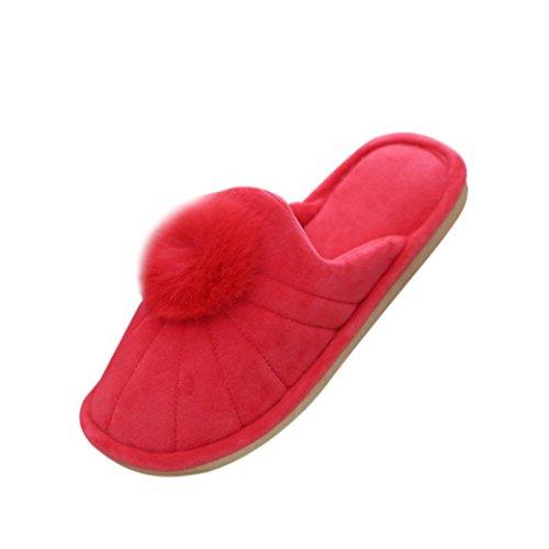 Casa scarpe Per Donna,Amlaiworld Coperta in cotone Venonat Pantofole Rosso