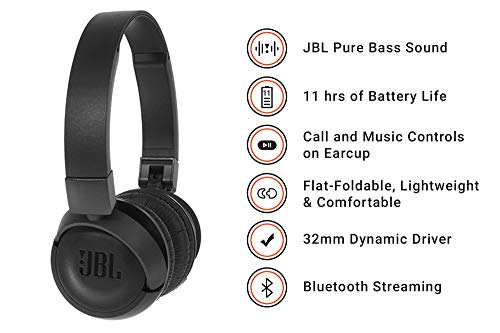 (Renewed) JBL T460BT Extra Bass Wireless On-Ear Headphones with Mic (Black) Image 3