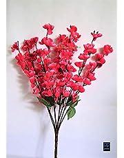 VCK Artificial Peach Blossom Flower Bunch (9 Stems, Dark Pink, 45 cm)