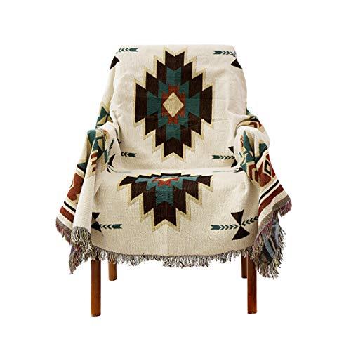 Zhhlinyuan Baumwollmischung Dekorativ Decke Werfen für Bettsofa - Geometrisch Gedruckt Sofa Handtuch Möbelschutz