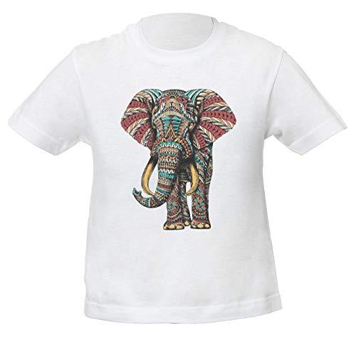 Elefante Adornado Ornate Elephant Niños Unisexo Niño Niña Camiseta Blanco | Kids Unisex Boys Girls White T-Shirt Tshirt T Shirt