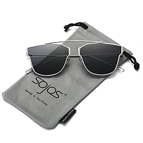 SojoS Modern Women's Men's Ultra Light Metal Frame Mirror Flat Lens Sunglasses SJ1028 With Silver Frame/Grey Lens