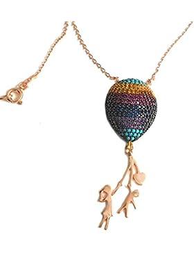 Kinder Luftballon Collier Halskette 925er Silber rosévergoldet + Steine türkis gold pink blau lila + weisse Glanzgeschenkbox