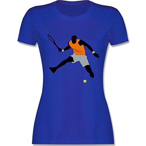 Tennis - Tennis Squash Sprung Tennisball - tailliertes Premium T-Shirt mit Rundhalsausschnitt für Damen Royalblau
