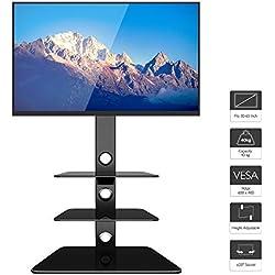 1home Meuble TV Verre Trempé Support Piotant pour Ecran Plasma LCD de 30 à 65 Pouce 3 Etagères