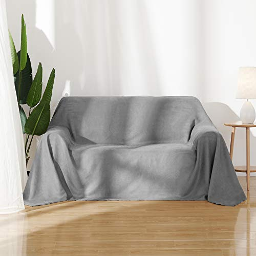 Umi.Essentials Sofabezug Sofa Überwurf Sessel Bezug Wildleder Optik 210x280 cm Hellgrau
