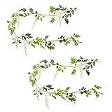 Meiliy Künstliche Blumen Kletterpflanze 2 Stück 200 cm Kunstseide Glyzinie Efeuranke Girlande zum Aufhängen für Heim Party Hochzeit Deko weiß