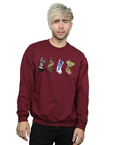 Star Wars Herren Christmas Stockings Sweatshirt Large Burgund (Burgund Christmas Stockings)