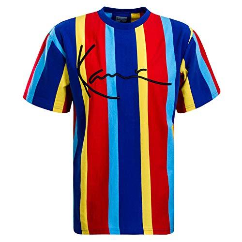 Vertikale Streifen-shirt (Karl Kani Herren T-Shirts Signature Pinstripe blau L)