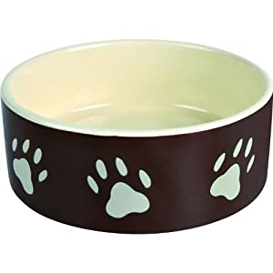 Trixie Ceramic Bowl with Paw Prints for Dogs, 0.8 Litre, Brown/Cream