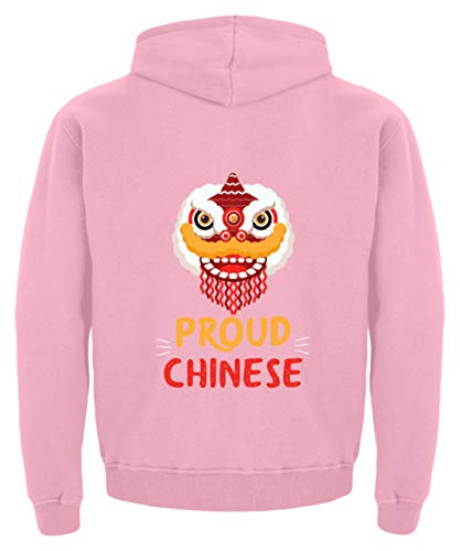 China Proud Chinese Dragon Mask Long - Kinder Hoodie -5/6 (110/116)-Baby Pink (Kinder-hoodie Mask)