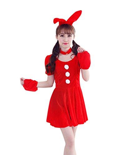 YOUJIA Weihnachtsmann Damen Kostüm Kaninchen Ohr Zubehör Miss Santa für die Weihnachtsfeier oder Fasching (Rot) (Miss Anzug Santa)