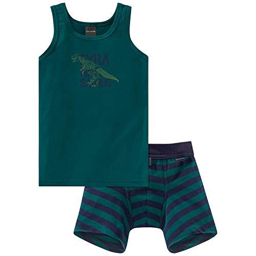 Schiesser Jungen Supersaurus Wäscheset Unterwäsche-Set, Mehrfarbig (Sortiert 1 901), Herstellergröße: 128 (2erPack) - 2-teiliges Hemdchen Set