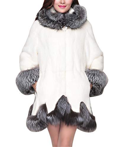 Damen Pelzmantel Kunstpelz Mantel Gefälschter Pelz Jacken Damen Elegant Faux Fox Pelz Winterjacke Fell Wintermantel Outerwear Jacke Kapuze Steppmantel Weiß XS -