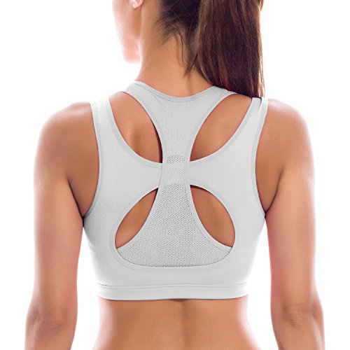 SYROKAN Femme Soutien-Gorge de Sport Yoga Double Couche Haute Impact Dos Nageur Blanc