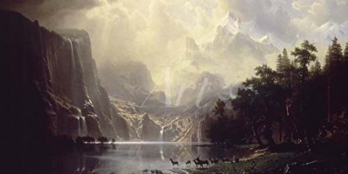 Artland Alte Meister Wandtattoo Albert Bierstadt Gemälde Kunstdruck 20 x 40 cm Die Sierra Nevada in Kalifornien 1868 Wandbild Romantik C2QT