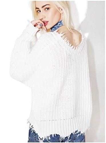 ZKOO-Bianco-Donna-Irregolare-Manica-Lunga-Sexy-Scollo-a-V-Maglione-Maglia-Pullover