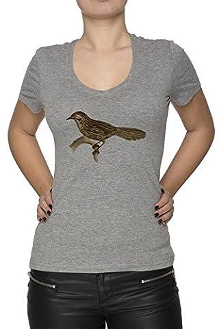Oiseau Femme T-Shirt V-Col Gris Manches Courtes Taille M Women's V-Neck Grey Medium Size M