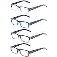 Reading Glasses 4 Pack Fashion Spring Hinge Rectangular Quality Readers for Men and Women (+1.00, 4 Pack Mix Color)