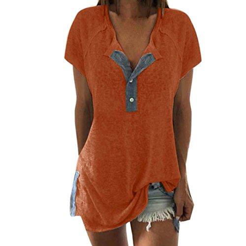 TITIU Damen Lose Patchwork Casual Knopf Kurzarm Bluse Oberteil Tees T-Shirt Tops(Gelb,EU-48/CN-3XL) -