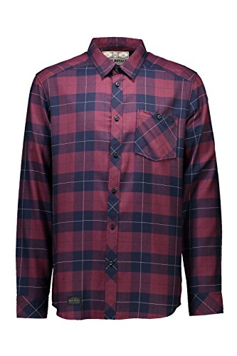 Mons Royale Herren Jackson Flannel Shirt Mid Layer, Navy/Burgundy, XL