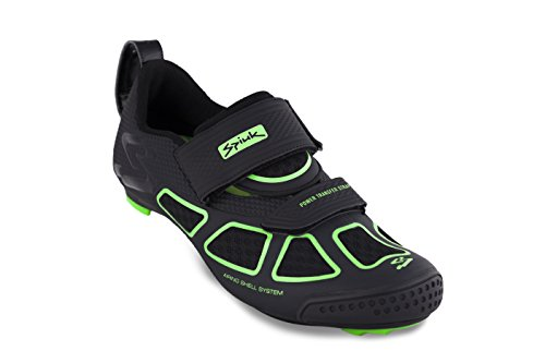 Spiuk Trivium Triathlon Shoe, Unisex Adult, Black / Green / Black, 44