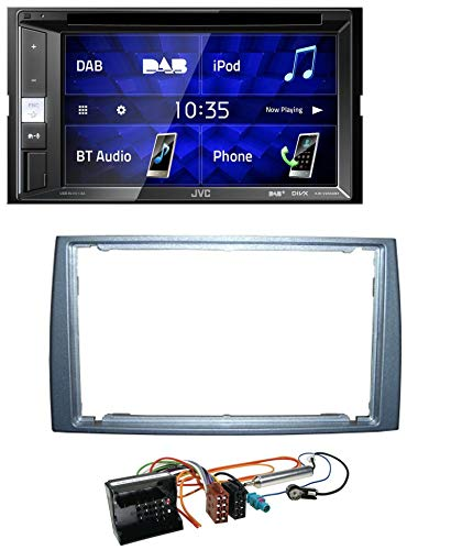 caraudio24 JVC KW-V255DBT Bluetooth USB DAB DVD 2DIN MP3 Autoradio für Peugeot 308 2007-2009 Silber (Autoradio Jvc Dvd)