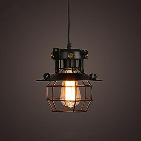 Lustre à cage rétro, Loft Garage Warehouse Lustre antidéflagrant Cafés Internet Lampes de décoration Single E27 Spiral Mouth Hanging Chain 150cm réglable ( taille : 23*23cm )