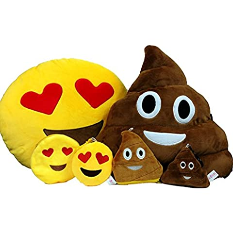 Emoji con catenina portachiavi & Cuscino morbido a forma di moneta, motivo: Smiley-Portafoglio con Poop supporto finto-Coperta con peluche a forma di smile, Cuscino imbottito, misura grande, motivo: