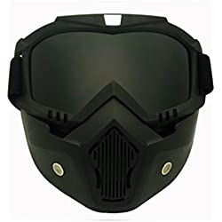 TOOGOO Racing Desmontable Modular Motocicleta Casco Mascara protectora Escudo lente negra