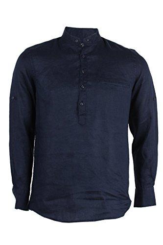 Camicia collo coreana 100% lino blu, xl-43/44