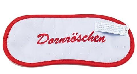 Schlafmaske/Schlafbrille/Augenmaske mit Stickerei Dornröschen Baumwolle 19 x 9 cm Rot Weiß Gummiband Fair Trade Ringelsuse