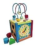 Lalia Holzspielzeug, Kubus,16x35cm Motorik Spielzeug, bunt, Holz Spielzeug 3+ Geschenk Kinder Kleinkinder ab 36 Monate Motorikschleife Motorikwürfel Uhr Weihnachtsgeschenke