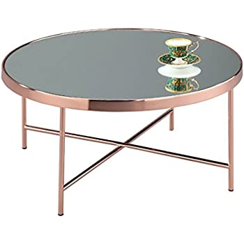 ASPECT Fino Mirrored/Glass Round Coffee Table, Metal, Copper