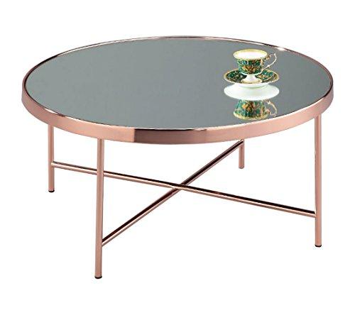 ASPECT Fino Effet Miroir/Table Basse Ronde en Verre, en MÉTAL, en CUIVRE