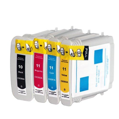 Premium 4er Set Kompatible Tintenpatronen Als Ersatz für Hp 10 XL + HP 11 XL Druckerpatronen (Schwarz, Cyan, Magenta, Gelb) 4x10-11-hp -