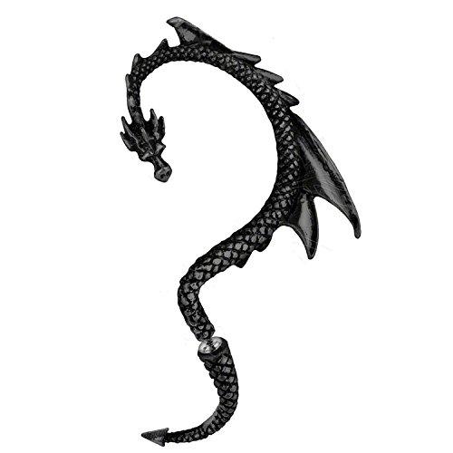 Dragón Pendientes manguito de oreja | con tonos negro| by Serebra Jewelry (Oreja izquierda)