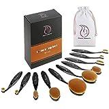 Start Makers pennelli ovali make up - 10pcs / Set Spazzolino stile Curve pennelli trucco - Set pennelli make up Professionali & Blender spugna - Confezione regalo perfetto
