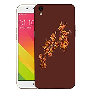 Snoogg Orange Butterfly Designer Protective Back Case Cover For OPPO F1 PLUS
