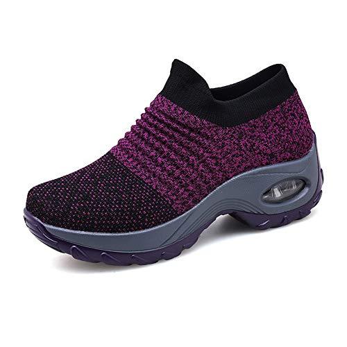 Laufschuhe Damen Sportschuhe Atmungsaktiv Turnschuhe Frauen Leicht Air Gym Running Sneaker Outdoor Schuhe Freizeitschuhe Schwarz Grau Lila Gr.35-42 PP43