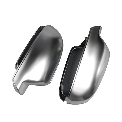 Qiilu Couvertures de Rétroviseur, Boîtierde protection mirror cache-rétroviseur Coques de miroir rétroviseur boîtier pour A3/S3/RS3 2013-2018 (chromé mat)