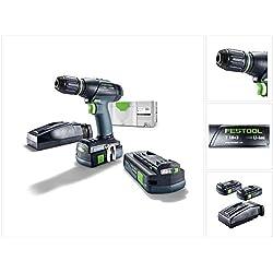 Festool T 18+3 Li 3,1-Com. S Perceuse-visseuse sans fil avec Coffret SYS 2 T-LOC + 2x Batteries 3,1 Ah + Chargeur rapide (575596)